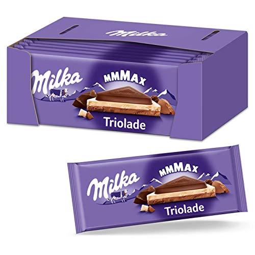 Milka Triolade 15 x 280g Großtafel, Zartschmelzende Schokoladentafel aus Schokoladen-Mix