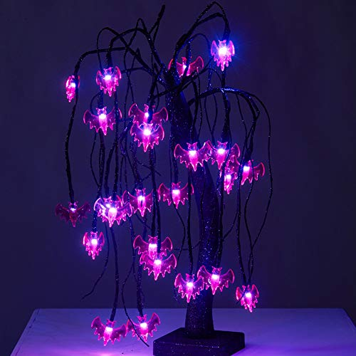 Happy Trees 1.48FT Black Spooky Willow Tree with 24 LED Purple Bats, Halloween Bonsai Night Light Glitter Battery Powered Tabletop Willow Decoration