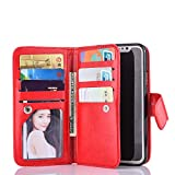 Valentoria Black Sales Friday Deals Cyber Sales Monday Deals Week-for iPhone Xs Wallet Case, Leather Wallet Case Magnetic Detachable Slim Back Cover Card Holder Slot Wrist Strap(Red)