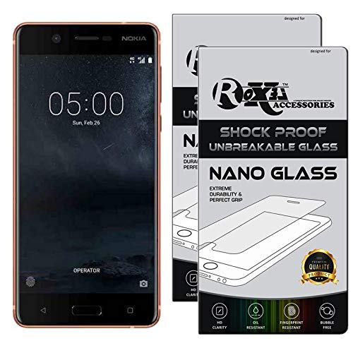 Roxel {Pack of 2} Nokia 5 Flexiable Nano Glass Screen Protector with Unbreakable Nano Film Glass [ Better Than Tempered Glass ] Screen Protector for Nokia 5 (Copper, 16 GB) (2 GB RAM)