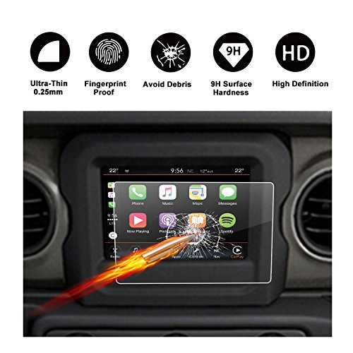 2018 2019 2020 Wrangler JL Uconnect Touch Screen Protector, R RUIYA HD Clear TEMPERED GLASS Protective Film Against Scratch High Clarity (7-Inch)