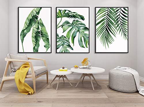 123 Life Wandkunstdrucke mit Palmblättern, Monstera-Pflanze, botanische Drucke, Farn, Wohnzimmer-Dekoration, Set mit 3 Stück (40 x 60 cm x 3 cm, ungerahmt)