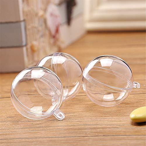 Delleu 4pcs Transparente plástico Relleno-Capaz Bola Ornamento Bola Hueco Pelota Decoraciones de Navidad