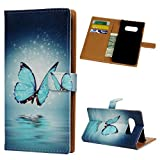 Beaulife. Étui Portefeuille en Cuir PU pour Samsung Galaxy S10 Lite Motif Papillons Bleus