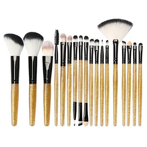 B Blesiya Kit de 18pcs Pinceau Maquillage Professionnel Brosse Poudre de Ombre à Paupière Blush Mélangeur Poudre de Fondation Eyeliner - Noir doré