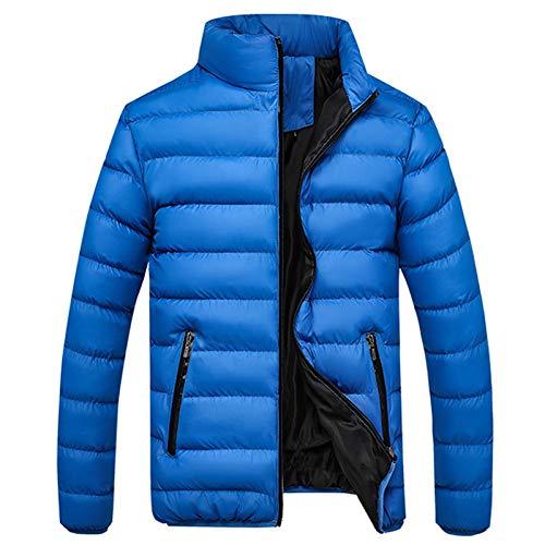 Winter Strickjacke Baumwolle für Herren Schlank Leicht Daunenjacke Pure Color Mantel Standkragen Dicker Bubble Coat Freizeitjacke
