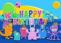 誕生日パーティーのためのZhyモンスター背景 7x5ft / 2.1x1.5m 漫画のカラー写真の背景 子供Bdayパーティーの装飾用品写真撮影小道具151