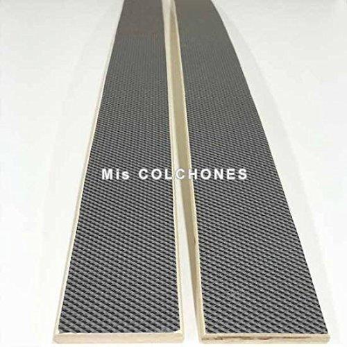 Recambio de láminas para somier o sofá ligeramente curvadas. Pack de 5 unidades. Medidas de largo 79,5 centímetros, de ancho 5,2 cm y de grueso 8 milímetros.