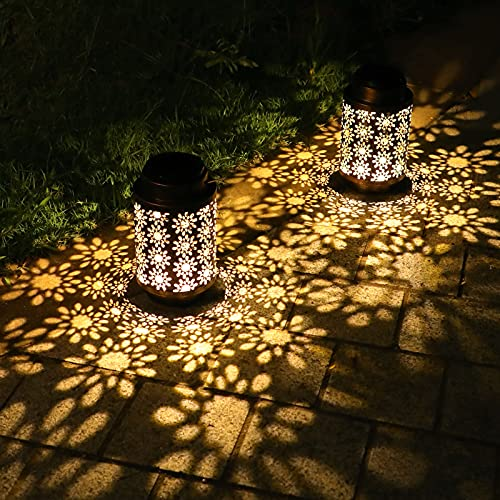 2 Pack Solar Lanterns Outdoor Hanging Retro Metal Landscape Lighting for Patio Yard Pathway Decorative, Crafted Garden Solar Lights Decor Indoor Long Lasting Performance Hollowed Out Pattern