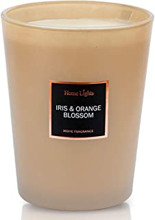 Home Lights Luxury Scented Candle, 33.26 oz, Natural Soy Wax, Home Fragrance Decor Gift, Iris Orange Blossom, Large Jar,3 Wick