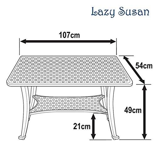 Lazy Susan – GRACE Gartenbank und CLAIRE Rechteckiger Garten Beistelltisch – Gartenmöbel Set aus Metall, Antik Bronze (Blaues Kissen) - 6