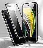 Funda para iPhone SE 2020 Magnética Carcasa,360° Funda Protectora de Cuerpo Completo,Rugged Metal Bumper Antigolpes Case,Cubierta de Cristal Templado con Protector de Pantalla para iPhone SE/8/7,Negro
