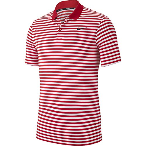 Nike Men's Dry Victory Polo Stripe Left Chest, University Red/White/Black, Medium