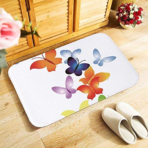 KFEKDT Thick Flannel Doormat Kitchen Bathroom Floor Carpet Corridor Entrance Non-Slip Rug Artwork Butterfly Print A1 50cmx80cm