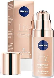 NIVEA PROFESSIONAL Ácido hialurónico, base de maquillaje profesional, 20C, pieles claras, maquillaje antiedad para reducir las arrugas, base para maquillaje con triple efecto antiedad, 1 x 30 ml