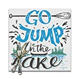 Wozukia Lake Placemats Set of 6 Lake House Decor in Vintage Style Lakeside Living Cabin Go Jump in The Lake Quote Heat-Resistant Washable Table Place Mats for Kitchen Dining Table Decoration