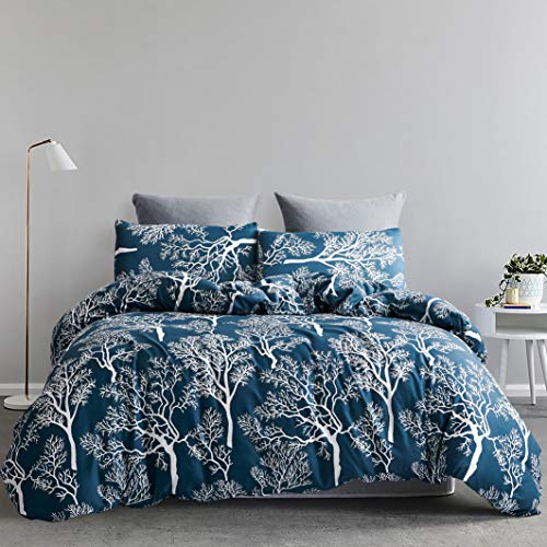 "YFISAN Navy Printe Duvet Cover Set Full/Queen Breathable Soft Durable 3 Pieces Comforter Cover Set with Zipper Closure and Corner Ties 90""x90"" Bedding Set (Style 2, Queen)"