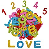 Alphabet Letters and Numbers Foam Stickers Self-Adhesive Assorted Colors DIY Arts Craft for Kids Greeting Cards Scrapbooking Decoration Home Supplies Letters A-Z Numbers 0-9 (72) Pieces