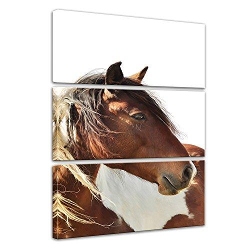 Wandbild Pferd - Portrait - 80x120 cm hochkant mehrteilig Bilder als Leinwanddruck Fotoleinwand Tierbild Reittier - Nahaufnahme - braunes Pferd