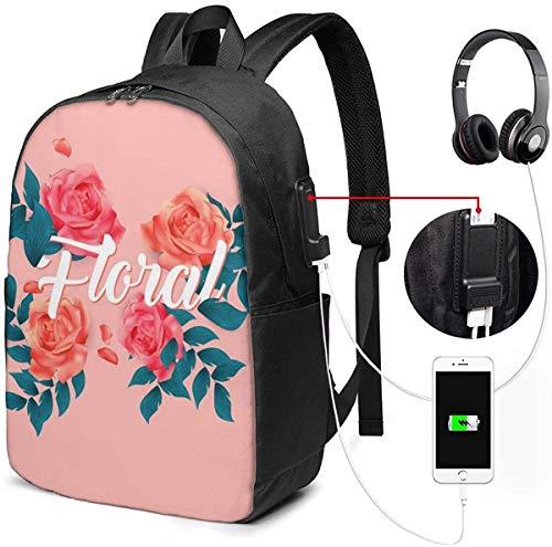 Llynice Laptop-Rucksack, 43,2 cm (17 Zoll), Reiserucksack mit USB-Ladeanschluss für Damen und Herren, passend für Laptop und Notebook, Blumenmuster, rosa Hintergrundbild