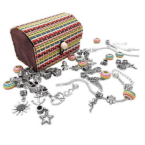 ShangSky DIY Pulsera para niñas, Charm Armkettchen,Joyas Bastelset,artesanía Perla überzogen,Pulseras Regalo con Geschenkbox para niños Teens