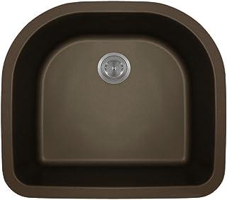 824 D-Shaped Single Bowl Quartz Kitchen Sink, Mocha, No Additional Accessories