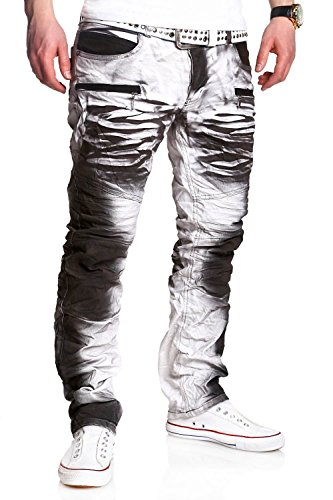 MT Styles Biker-Style Jeans Hose RJ-3121 [Weiß, W31/L32]