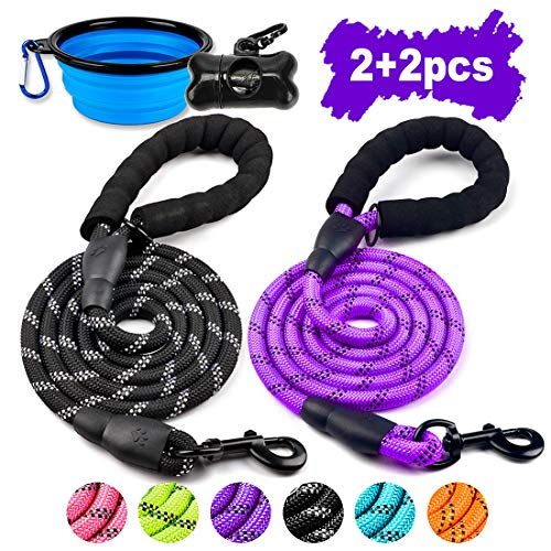 COOYOO 2 Pack Dog Leash 5 FT Heavy Duty - Comfortable Padded Handle - Reflective Dog Leash for Medium Large Dogs with Collapsible Pet Bowl (Black+Purple)