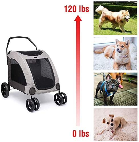 Dog Stroller For Large Pet Jogger Stroller For 2 Dogs Breathable Animal Stroller With 4 Wheel And Storage Space Pet Can Easily Walk In/Out Travel Up To 120 Lbs(55kg) 2