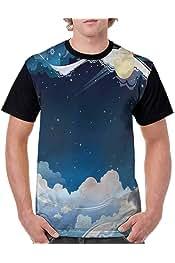 BlountDecor Casual Short Sleeve Graphic Tee Shirts,Blue Pink Stripes Fashion Personality Customization