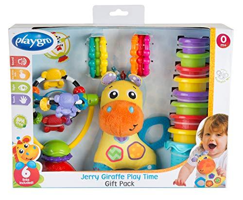 Playgro Jerry Giraffe Spiel- und Geschenkset, Baby Spielzeuge, 17-teilig, Ab 6 Monate, BPA-frei, Bunt, 40210