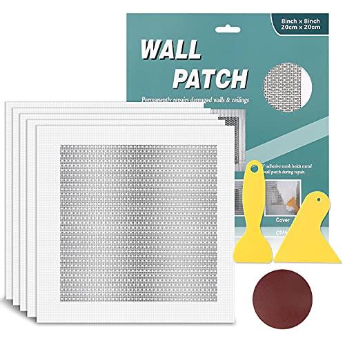 5 Pieces Drywall Repair Patch 8 inch x 8 inch, Self Adhesive Fiberglass Wall Repair Patch Kit, Aluminum Wall Repair Patch for Drywall Plasterboard Holes