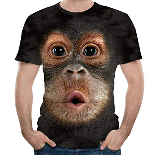 Xmiral T-Shirts Herren Kurzarm Rundhals 3D Orang-Utan Drucken Große Größe Kurzarmshirt Interessant Cosplay Party Custom Sweatshirts(Schwarz,XL)