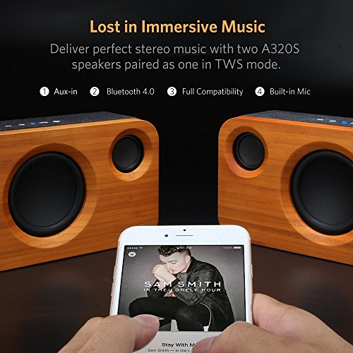 Altavoz Bambú ARCHEER A320S Altavoces Bluetooth potentes, Sonido estéreo, subwoofer, Llamadas Manos Libres, Compatible con iPhone, iPad, Android