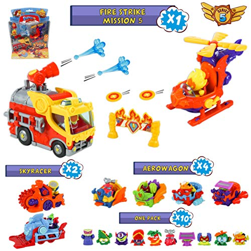 SuperZings Serie 5 # Fire Strike Mission 5 y Pack Sorpresa con 16 Sets | Contiene Blíster Fire Strike,  10 Sobres One Pack,  4 Aerowagons y 2 Skyracers | Juguetes y Regalos para Niños