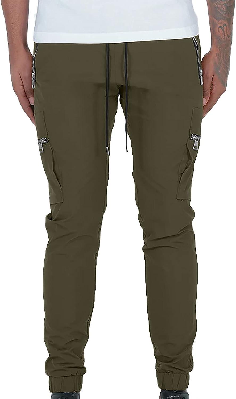 Sinzelimin Cargo Pants for Men's Sport Joggers Pants Drawstring Casual Hip Hop Capri Pants Pencil Pants Big&Tall Trousers
