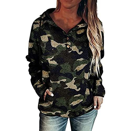 Wave166 Sudadera con capucha para mujer, de forro polar, con cordón, con bolsillos, para otoño e invierno, estilo informal, verde, L