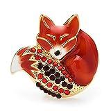 COLORFULTEA Sleeping Fox Brooches Esamel Cuerpo Renania Completa Cola Fox Pins Linda Insignia De Animal