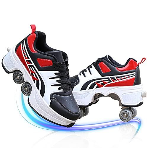 YXRPK Zapatos Multiusos 2 En 1, Patines De Ruedas Deformación para Niños, Patines De Cuatro Ruedas Ajustables, Zapatos para Caminar, Patines para Exteriores