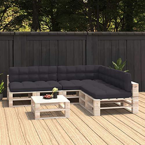 Tidyard Cojines para Sofás de Palés 7 Piezas Cojines para Palets Exterior Jardín Cojines Decorativos Gris Antracita