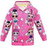 ALAMing LOL Surprise Kapuzenjacke, modisch, bedruckt, für Mädchen, Herbst-,Wintermantel, Jacke, Kinderbekleidung Gr. 2-3 Jahre, Farbe01