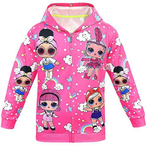 Alaming LOL Surprise Modisch Bedruckte Kapuzenjacke für Mädchen, Herbst-/Wintermntel, Jacke, Kinderbekleidung Gr. 7-8 Jahre, Farbe01