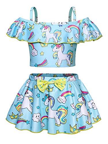 AmzBarley Einhorn Badeanzüge für Kinder Mädchen Badebekleidung Einteiler Kostüm Zwei/EIN Stück Tankini Schwimmbad Strand Urlaub Strandkleidung Bikini