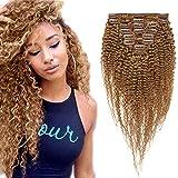 16'(40cm) SEGO Afro Kinky Curly Clip in Extensiones de Clip de Pelo Nautral [Double Weft] #27 Rubio Oscuro 8PCS Cabello Humano Brazilian Human Hair (110g)