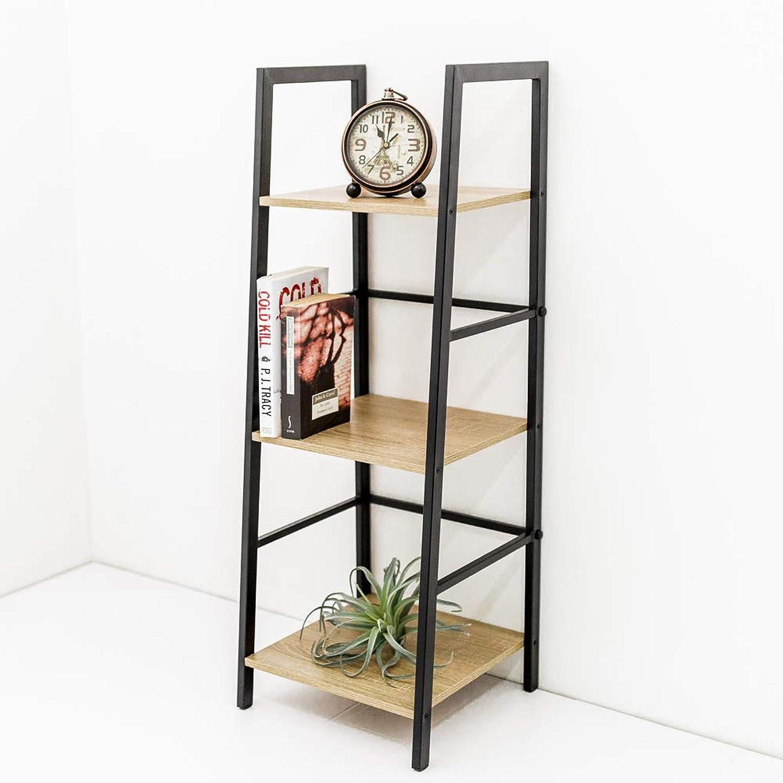 C-Hopetree 3 Tier Vintage Bookshelf Slim Student Book Shelves Wood Look Metal Frame