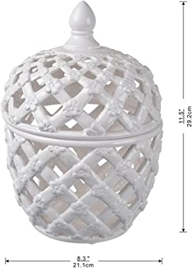 "A&B Home Ceramic Lidded Jar White Porcelain Jar Home Décor Tabletop Decorative 8x8x12"""