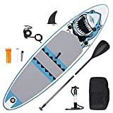 inty Aufblasbares Stand Up Paddle Board ISUP Surf Board 6 Zoll Dick Komplett-Set SUP Board, Hochdruck-Pumpe,Paddel, Rucksack, Reparaturset (Squalo-Blu 305cm)