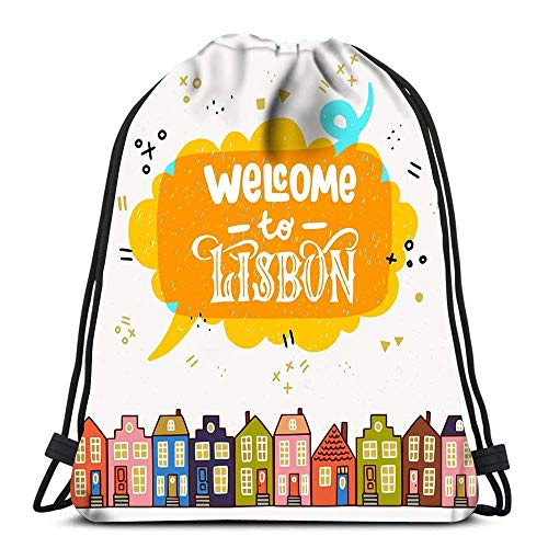 Drawstring Bags Backpack Box Welcome To Lisbon Colourful Old Town Houses Cartoon Travel Gym Bags Rucksack Shoulder Bags