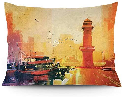 Funda de cojín, diseño de faro y barco de pescador al atardecer con gaviotas en colores pastel, funda de cojín impresa, 45,5 x 20 cm