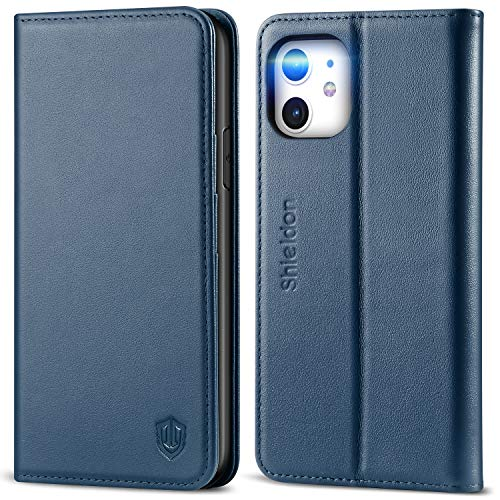 SHIELDON iPhone 11 Case, Genuine Leather iPhone 11 Wallet Case with Folio Stand RFID Blocking Credit Card Slot Magnetic Protective Cover Compatible with iPhone 11 (6.1-inch, 2019)- Dark Blue